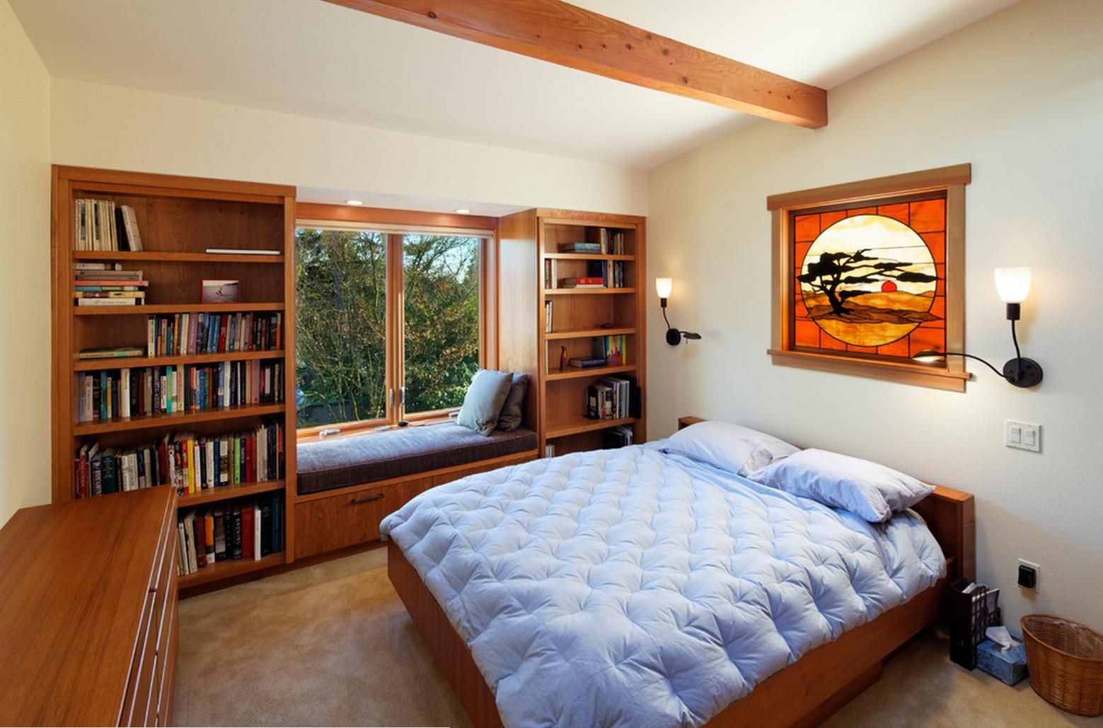 коленного спальня с книжным шкафом фото косой